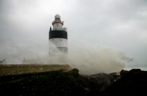 Hook Lighthouse on the Hook Peninsula during Hurricane Ophelia which hit Ireland 16th October 2017. County Wexford, Ireland.